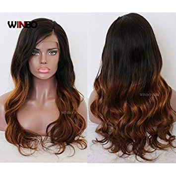 WINBO 9A Ombre Color Wave Brazilian Virgin Lace Front Wigs Human Hair Full Lace Wigs