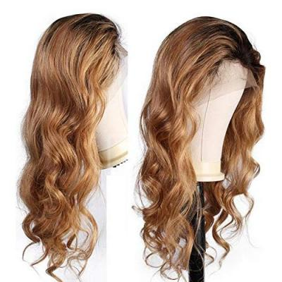 WINBO Ombre Color Brown Blond Wavy Human Hair Full Lace Wig Brazilian Virgin Hair Lace Front Wig Pre Plucked Natural Hairline